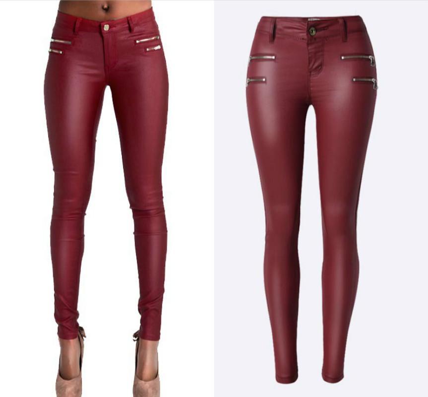 bcd1583620 Compre Cintura Baja PU Pantalones De Cuero De Las Mujeres De Doble  Cremallera Skinny Jeans Femme Alto Estiramiento Push Up Pantalones Feminino  Vino Rojo ...