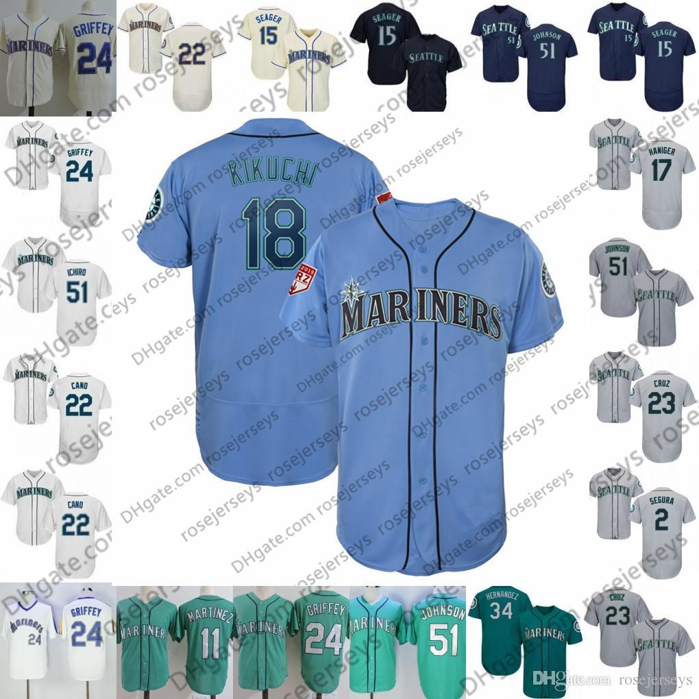 online store 4eb65 ed764 Custom Mariners Jersey 2019 Seattle #18 Yusei Kikuchi 9 Dee Gordon 10 Edwin  Encarnacion 15 Kyle Seager 16 Domingo Santana 34 Felix Hernandez