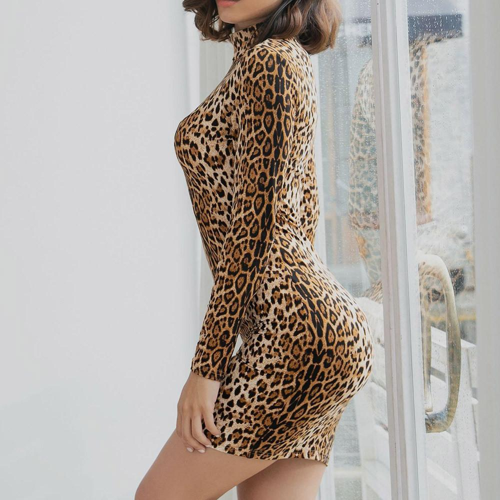 san francisco 090b1 6021b Abito invernale moda Donna Sexy O-Collo Manica lunga Leopard Print Guaina  Vestitino elegante da cerimonia cortos elegantes 2018