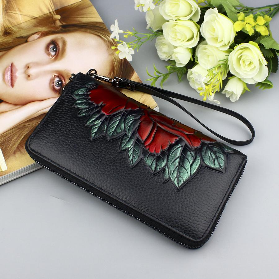 Genuine Leather Women's Wallets Zipper Fashion Flower Long Wallet Purse Female Party Clutch Ladies Real Leather Wallet Phone Bag