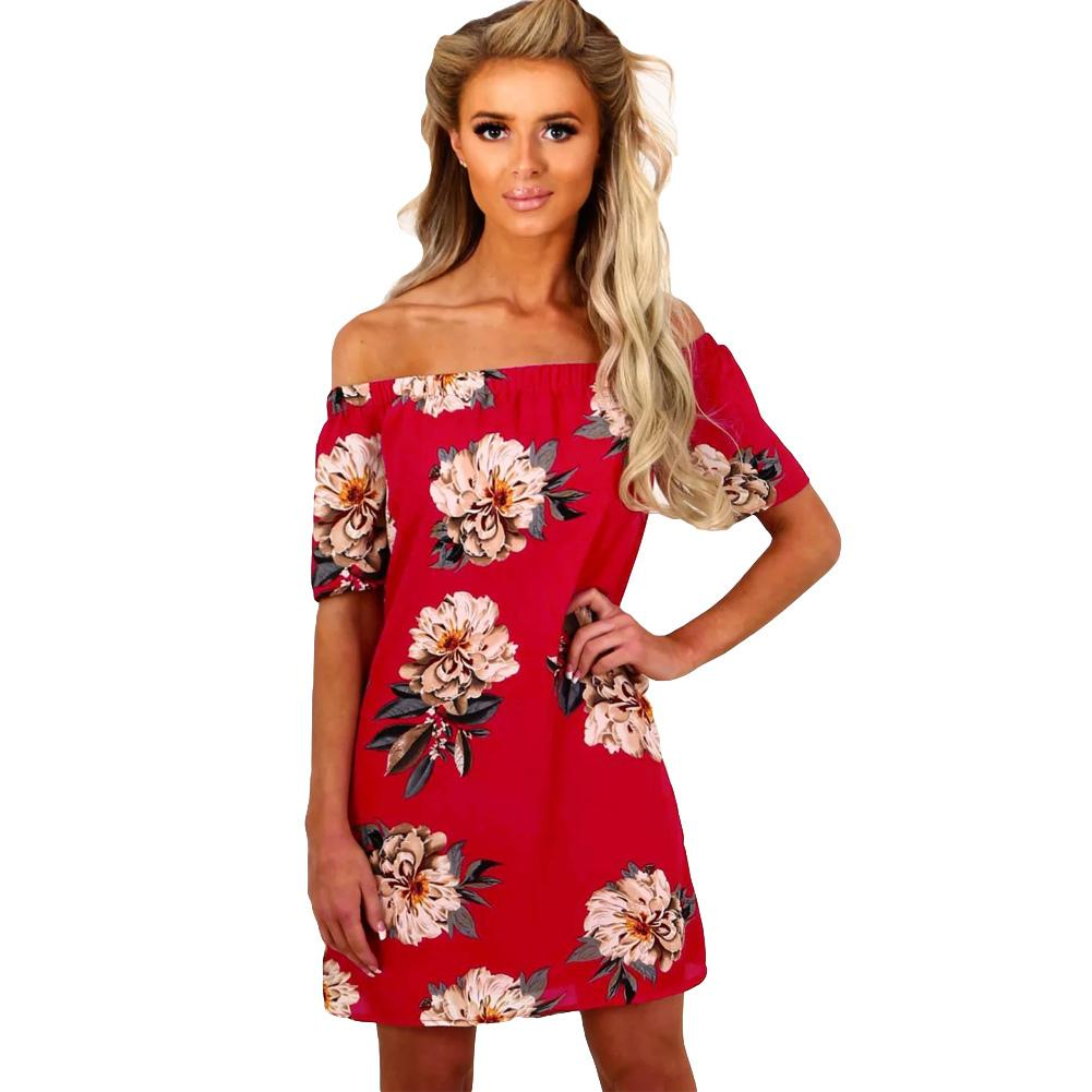 2d4cfc8e5f28b Women Off Shoulder Chiffon Dress Floral Print Slash Neck Hot Summer Dress  2019 Short Sleeve Mini Casual Beach Holiday One Piece White Dresses For  Women ...