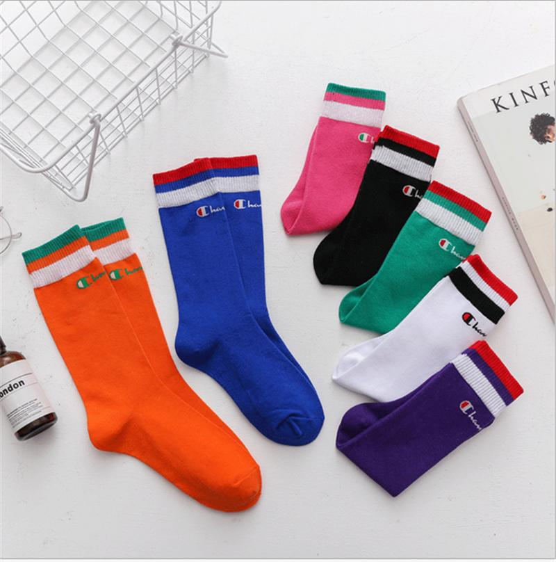 68c588a6d Girls Champion Letter Printed Knee High Socks Cotton Teenager Student  Sports Stocking Long Socks Medium Length Stockings 2019 B3183 Black Sock Socks  Buy ...