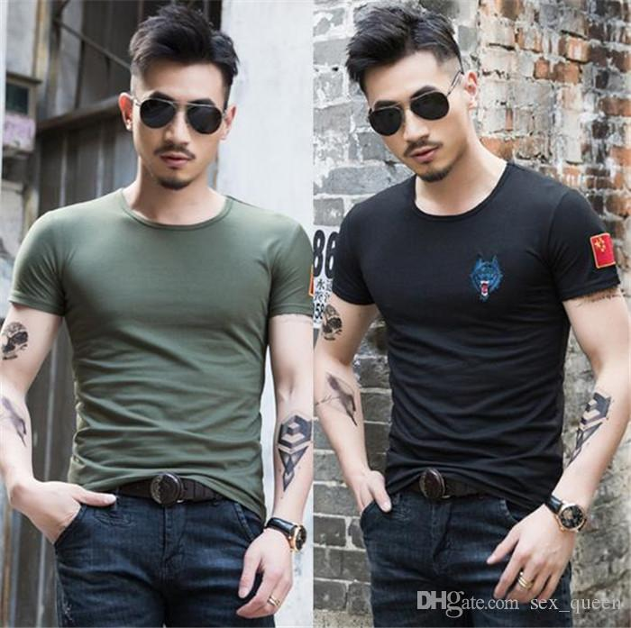Explosive Odyssey Short Sleeve T-Shirt Men's Army Fan Men's T-Shirt Wolf Head Embroidery Commando Men's T-Shirt Wholesale T-12