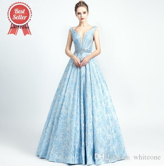 2019 New Arrivals Sky Blue Evening Dresses Sexy Robe De Soiree V Neck  Luxury Actual Image Open Back Crystal Beading Gowns Abendkleider 5133  Ladies Evening ... 3fba285e78df