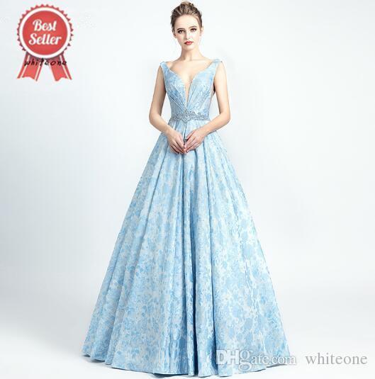 1c8b1e136d9e4 Compre 2019 Nuevas Llegadas Vestidos De Noche Azul Cielo Sexy Robe De  Soiree Con Cuello En V Lujo Imagen Real Volver Abierto Cristal Abalorios  Abendkleider ...