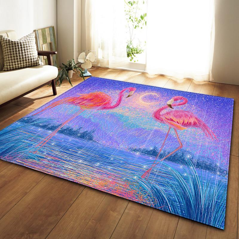 art Animal colorful painting living room carpet bedroom dining room rug 3d  Flamingo carpet kids home dec mat parlor tapete