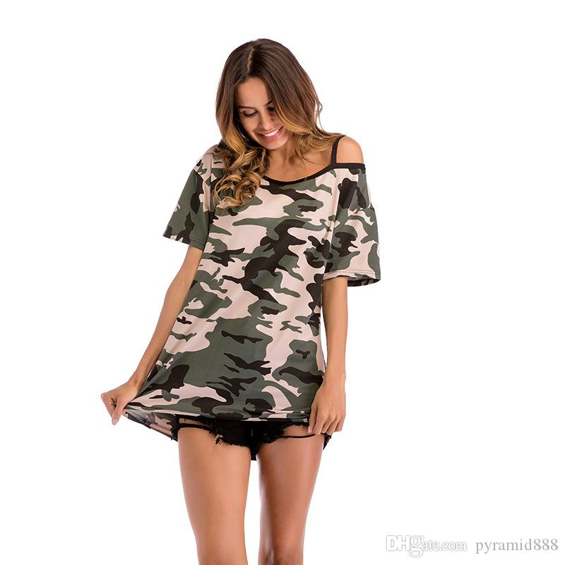 426480974 Women's t-shirt Camouflage off-the-shoulder long short-sleeved t-shirt  Women's loose large size fashion women's top hot sell