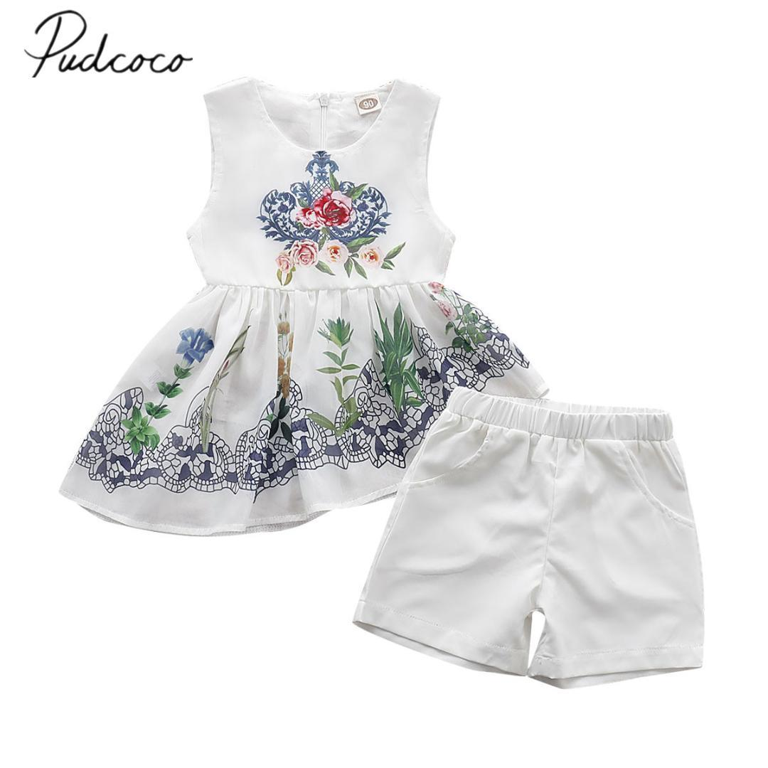 8fbe42988b643 2019 2019 Children Summer Clothing Summer Infant Baby Girls Flowers  Sleeveless Chiffon Tops T Shirt Shorts Outfits Set Clothes From Begonior,  ...