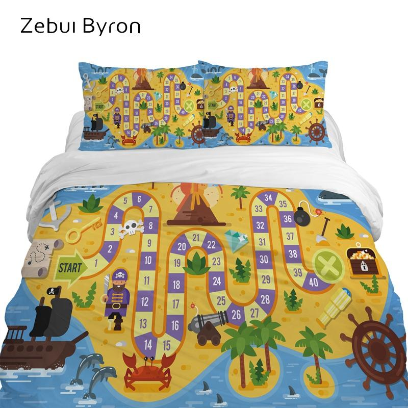 3D children's bedding sets luxury,bed set Queen /King/Twin/Full size,Cartoon duvet cover set for baby/kids/boys,game map