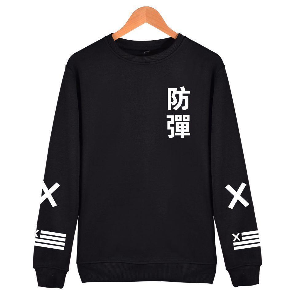 Compre 2018 BTS Kpop Harajuku Hoodies Hombres Negro Algodón Moda Hip Hop  Abrigo Sin Tapa Sudadera Hombres BTS Coreano Bangtan Ropa Casual D18122702  A  23.2 ... 558c6d0e0b7