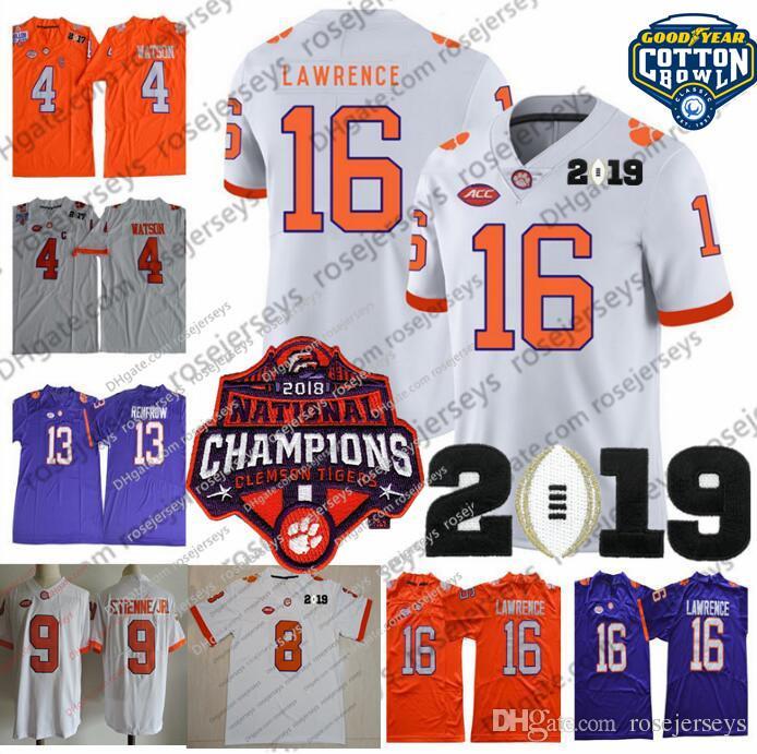 f91ad39a67a 2019 2019 Clemson Tigers 16 Trevor Lawrence Champions Jersey 9 Travis  Etienne Jr. 4 Watson Hunter Deshaun Renfrow Purple White Orange Cotton Bowl  From ...