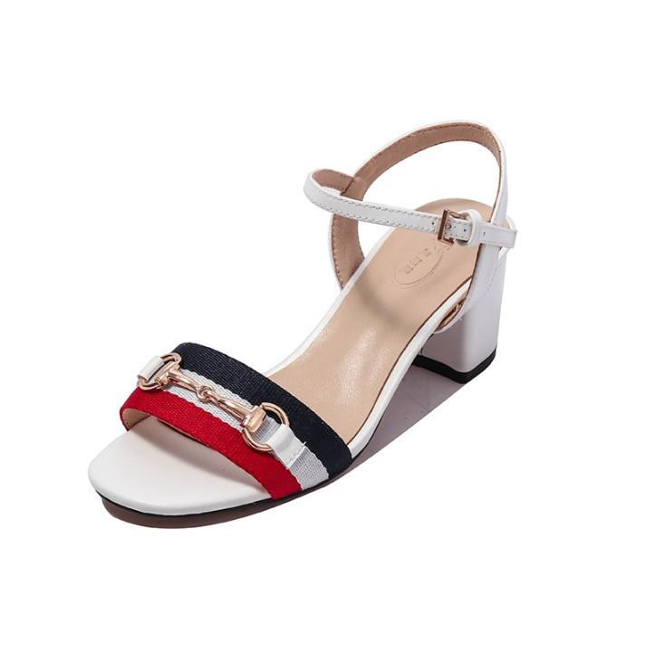 3391cdf84636ec 2018 Low Price Summer Luxury Ladies Sandals Riband Metal Decoration Toes  Ankle Strap Chunky Heel Shoes Party Sexy Fashion Ladies Shoes Jelly Sandals  ...