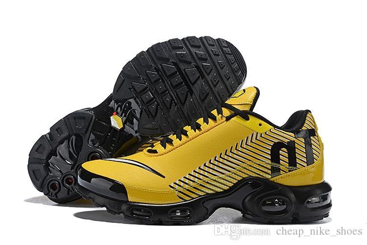 buy online 6c0b1 d38a9 Acheter 2018 Date Mercurial Plus Tn Ultra SE Hommes Chaussures De Course  Marque Designer Noir Jaune Baskets Chaussures De  100.51 Du  Cheap nike shoes ...