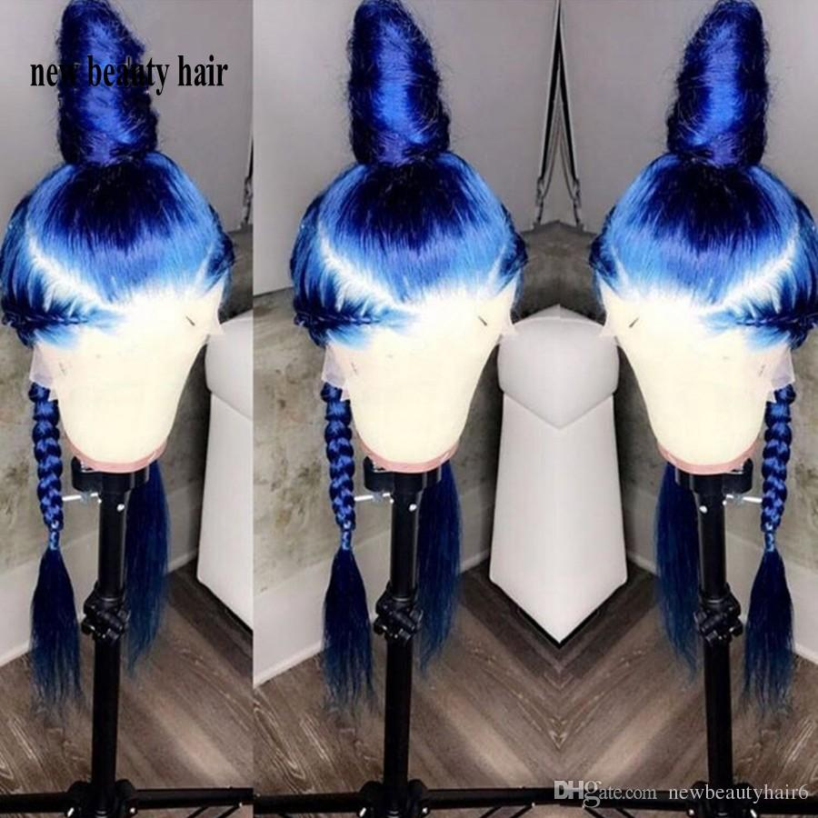 Stock simulation human hair lace wig Perruque Frontal Full blue color wig Long straight synthetic Lace Front Cosplay Wig For Women