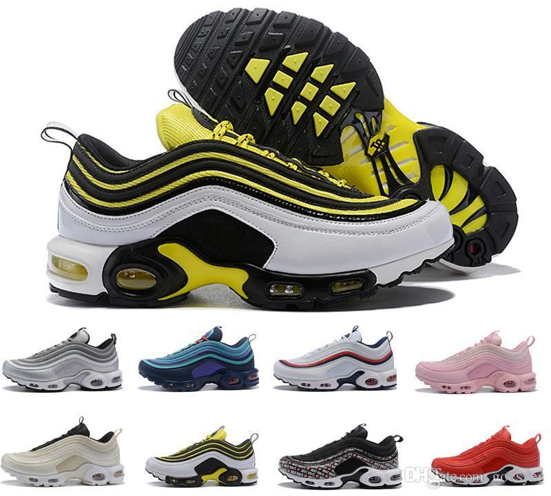 a2d6d923c8 Compre 2019 Barato Novo Mens 97 Plus Tn Sapatos De Grife Chaussures Homme  97 Plus Mulheres Esporte Formadores Zapatiallas Hombre Tns Airs Almofada  Run ...