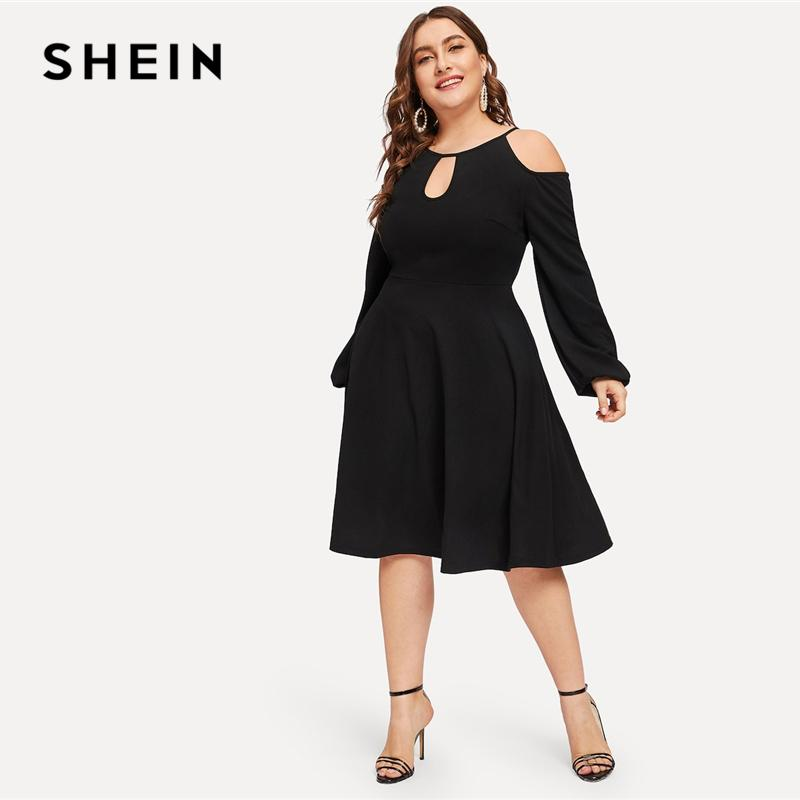 71f54eb752ca 2019 Glamorous Plus Size Black Cold Shoulder Cutout Solid Dress ...