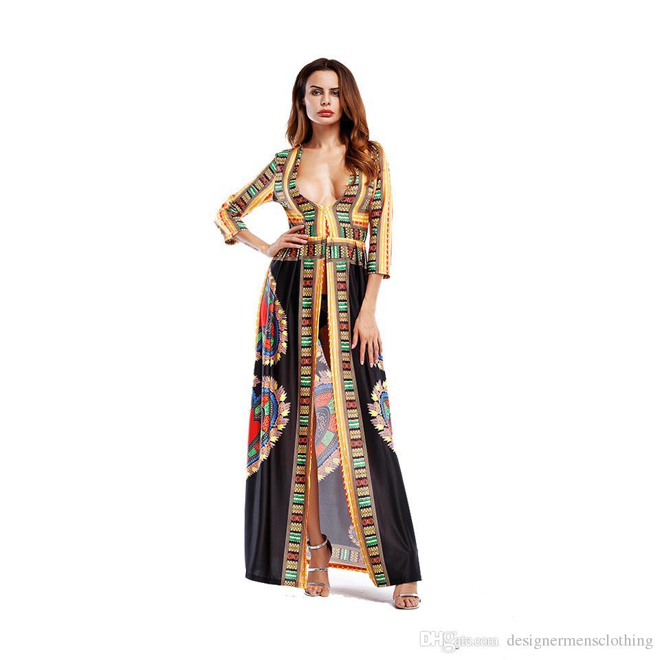 a900bc7f0d Compre Mujeres Del Verano Vestidos Largos Bohemios Escote En V Profundo  Vestidos Largos Con Estampado Digital Sexy Totem Africano Vestido Étnico A   29.78 ...