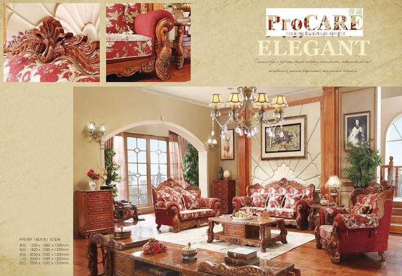 2019 Luxury Antique Italian Style Red Color Fabric Sofa Set For ...