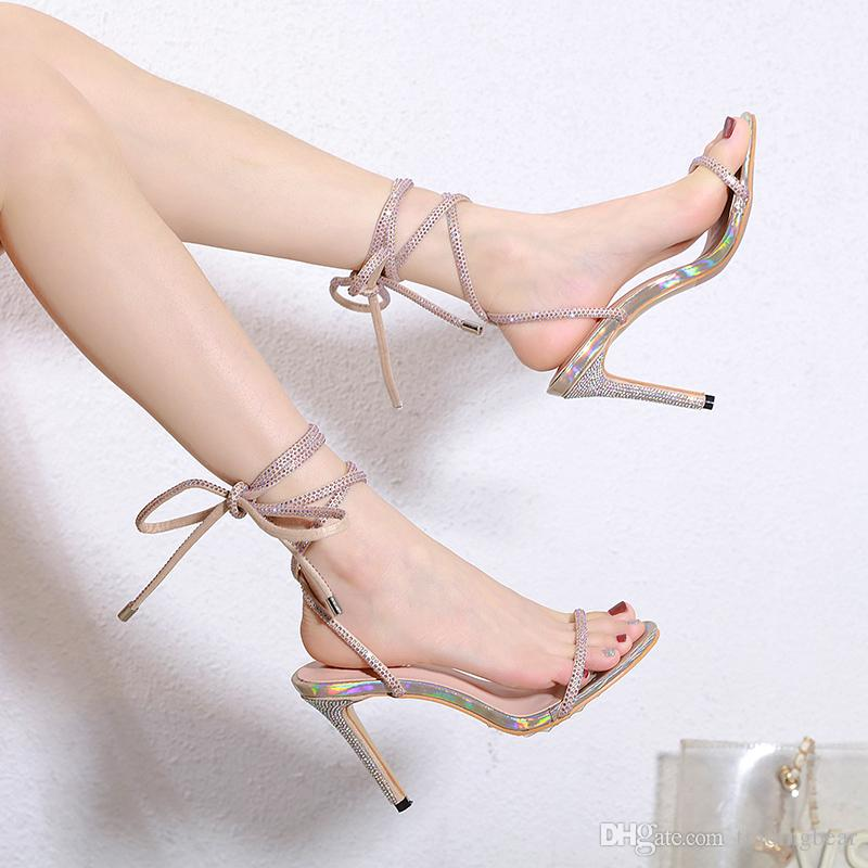 sexy rhinestone ankle wrap high heels luxury women designer shoes bridal shoes size 35 to 40 tradingbear
