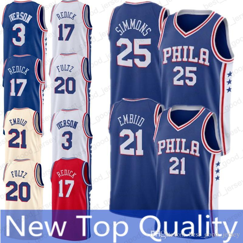 a93ea49ce 21 Joel Embiid Philadelphia 76ers 25 Ben Simmons 17 J.J. Redick 3 Allen  Iverson 20 Markelle Fultz Basketball Jerseys 2019 21 Joel Embiid Philadelphia  76ers ...