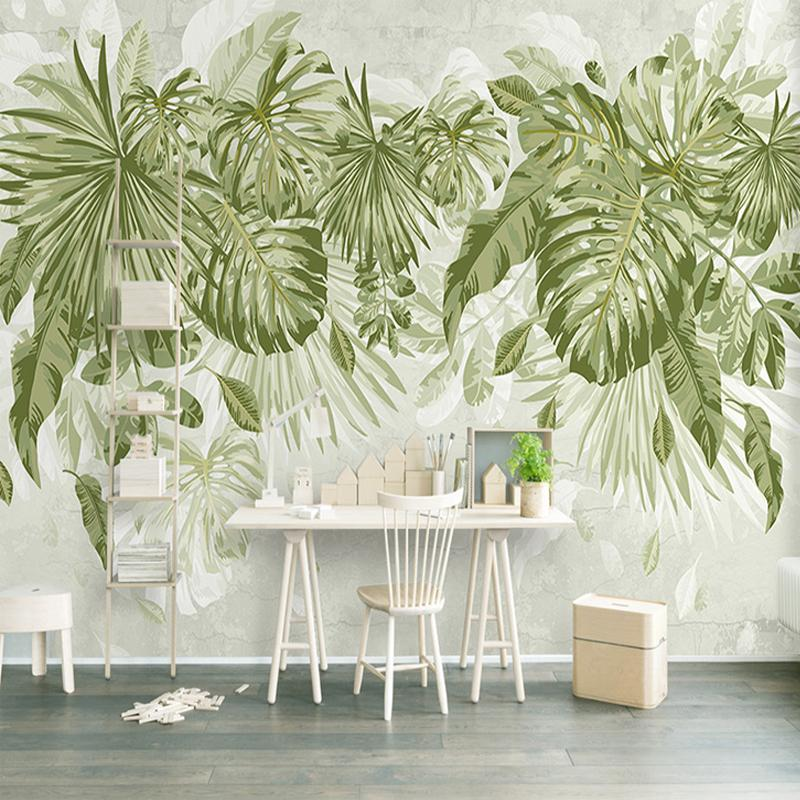 Foto Wallpaper Tropical Green Plants 3D Murales Soggiorno Camera Da Letto Sfondo Parete Home Decor Papel De Parede 3D Paisagem