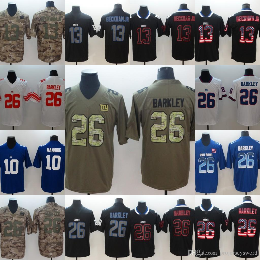 finest selection 03052 683dc Mens 10 Eli Manning 26 Saquon Barkley 13 Odell Beckham Jr Giants White Blue  Green Camo Black Red Football Jersey Fast Shipping