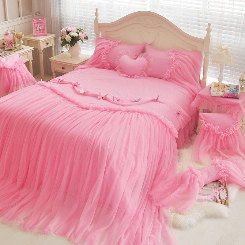 Winlife Luxury Blue Pink Purple Korean Girls Bedding Set Romantic