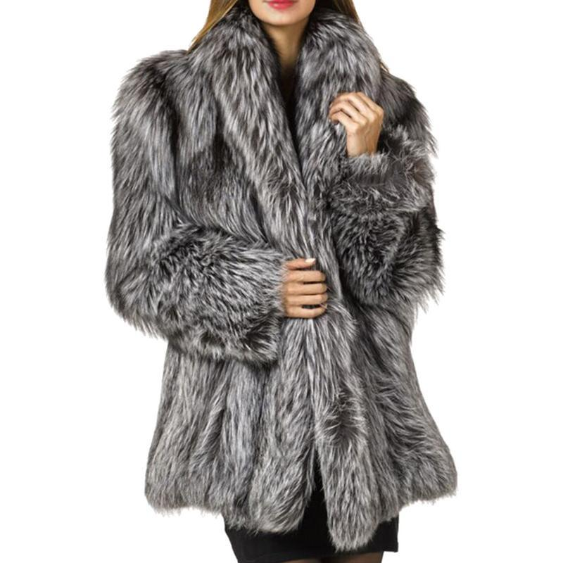 fc8f3a78f2 2019 New Winter Coat Women Faux Fox Fur Coat Plus Size Women Stand Collar  Long Sleeve Faux Fur Jacket From Guocloth, $82.42 | DHgate.Com
