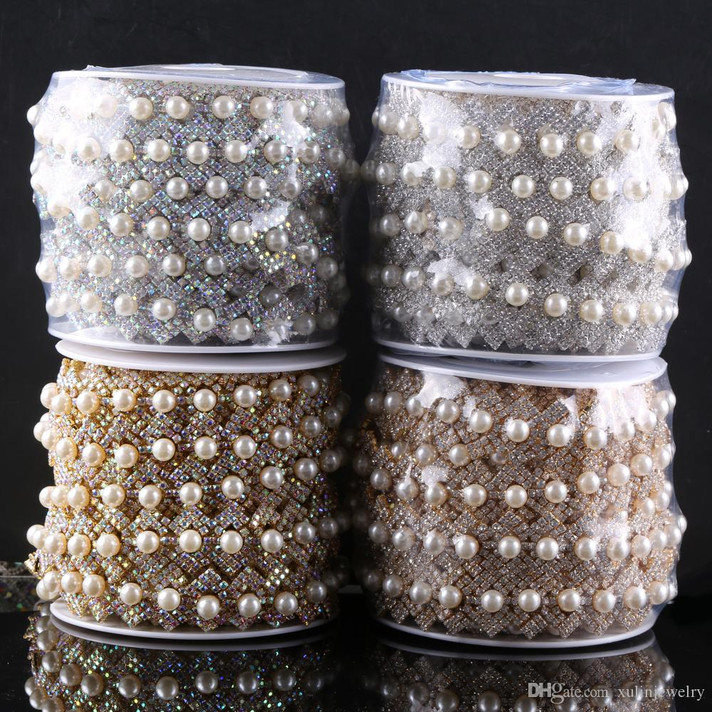 5 yard / roll rhinestone applique glass pearl strass chain Pearl trim For Garment Accessories GBT 007