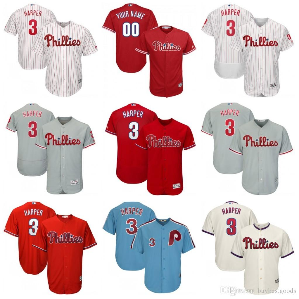 3 Bryce Harper Jersey Philadelphia Phillies Baseball Jerseys White Red Grey  Cream Blue Stitched Bryce Harper Phillies Jersey Philadelphia Phillies  Online ... af2f8cc0186