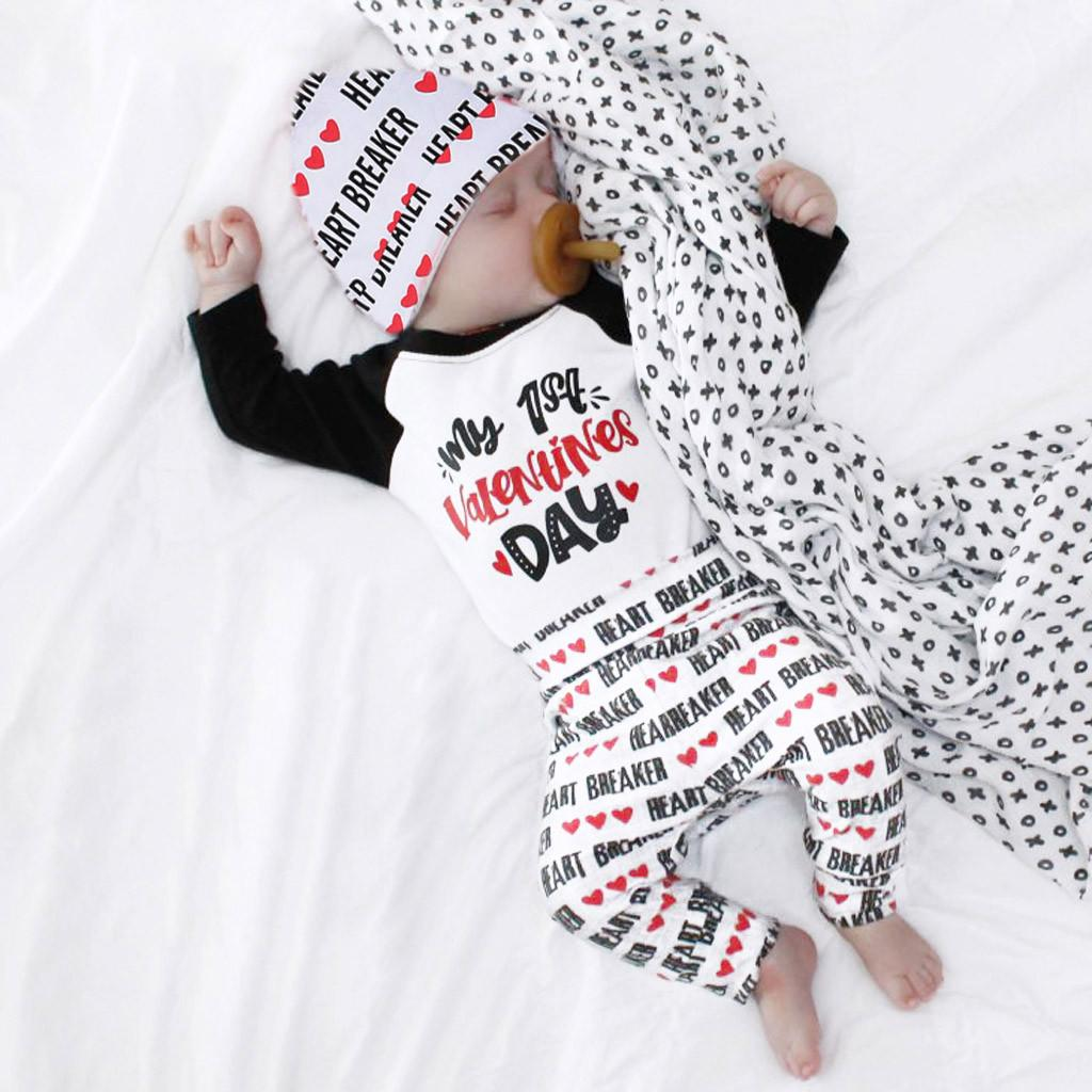 bead6feeb91d5 New clothing boy girls clothes my 1st Valentine Newborn Infant Baby Boy  Girl Letter Romper Tops Pants Hat Set Valentine Outfits