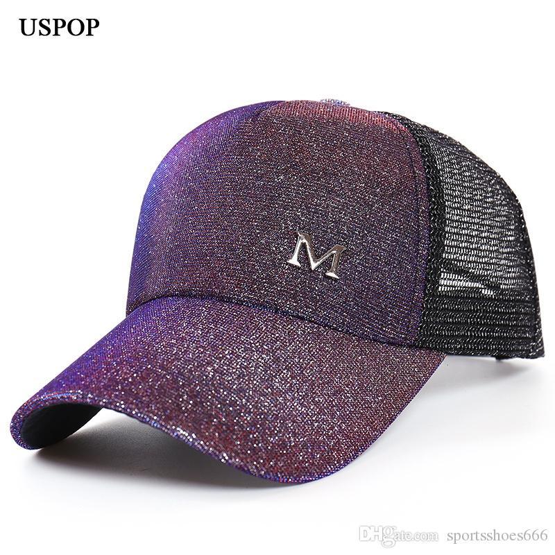 9a900dcb6d5ef7 2019 USPOP 2019 New Women Glitter Baseball Caps Summer Women Letter M Mesh  Baseball Cap Casual Adjustable Mesh Visor Cap #17313 From Sportsshoes666,  ...