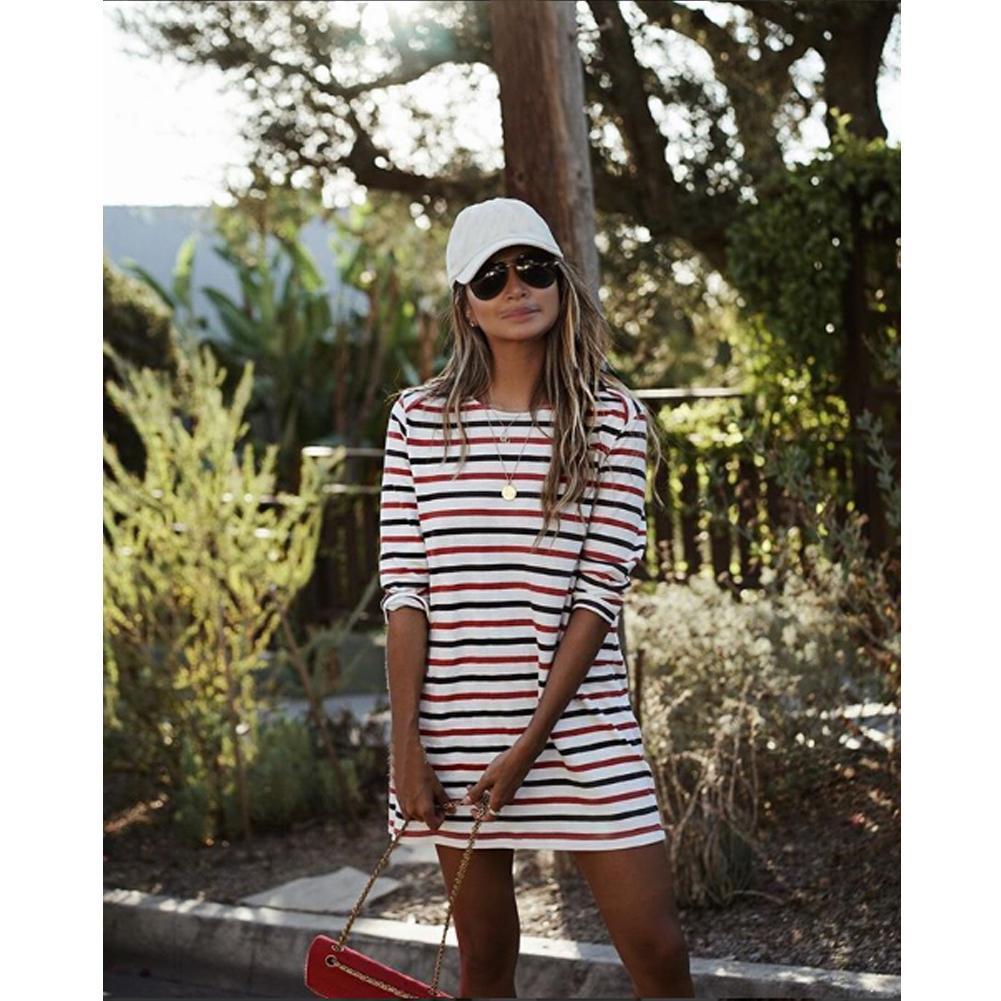 2019 Yeni Kadın Tatil Çizgili Yarım Kol Midi Elbise Bayanlar Mini Yaz Plaj Elbise
