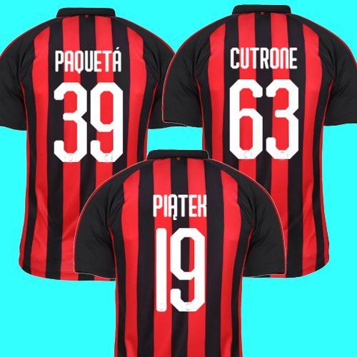 2019 PAQUETA 39 PIATEK 19 AC MILAN 2018 2019 Soccer Jersey Home Away 3rd  CUTRONE 63 CONTI 12 KESSIE 79 CALHANOGLU 10 AC Milan Jersey 18 19 From ... c7c200f43