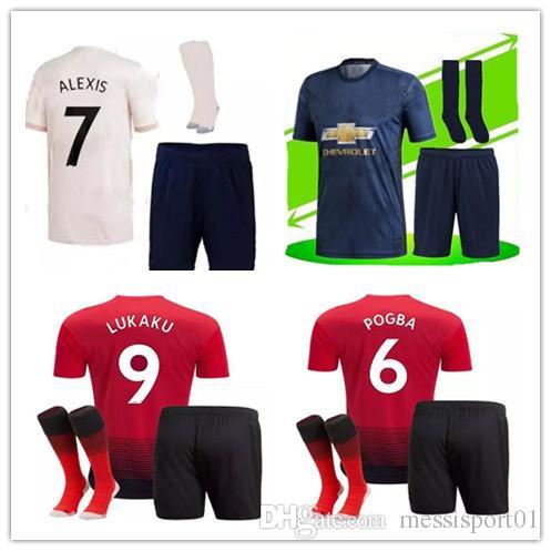 e0c32b650 2019 UTD SOCCER JERSEY 2018 19 Adult Kit +SOCKS POGBA ALEXIS LUKAKU KITS  MAN MAILLOT DE FOOT Football Shirt KITS With Socks From Messisport01