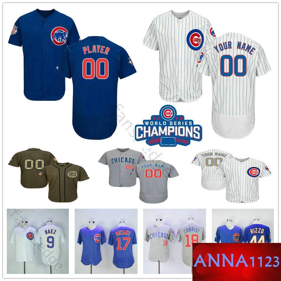 half off 88bdd 6a2ab Custom Chicago #18 Ben Zobrist 9 Ben Zobrist 13 David Bote 14 Ernie Banks  Men Women Kids Youth Cubs Baseball Jerseys