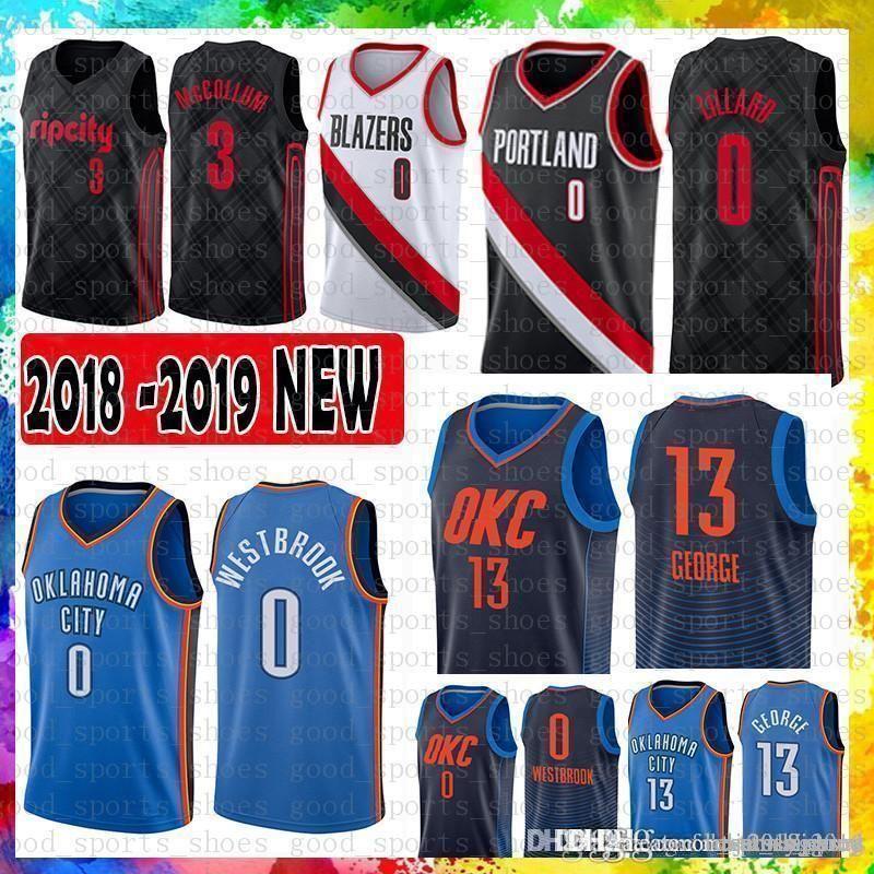 3cf5ed1e60e 2019 Mens Oklahoma City Russell 0 Westbrook Thunder Jersey Paul 13 George  Damian 0 Lillard Portland Trail CJ 3 McCollum Jerseys From Tukameng2016, ...