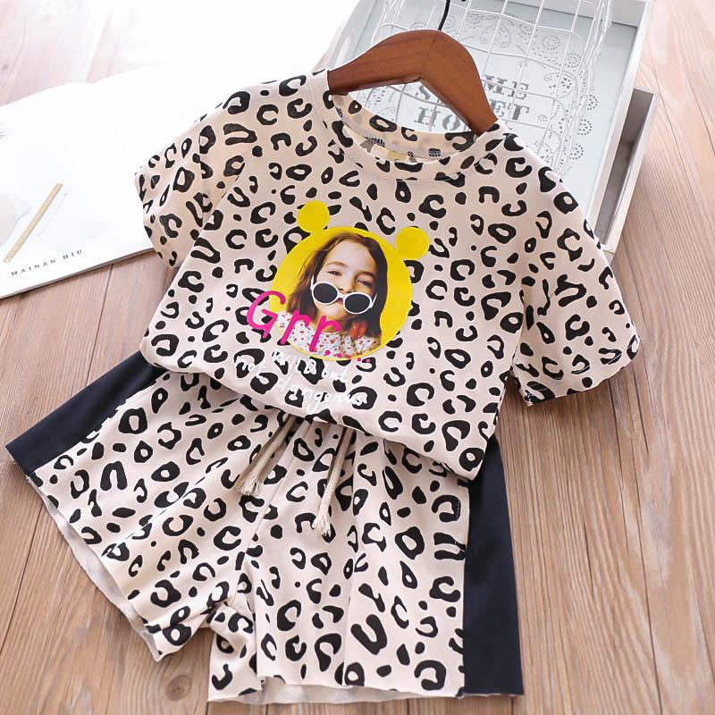 leopard print Girls Outfits kids designer clothes Girl Suit 2019 new Summer Kids Sets short sleeve T shirt+Shorts Fashion kids clothes A4149