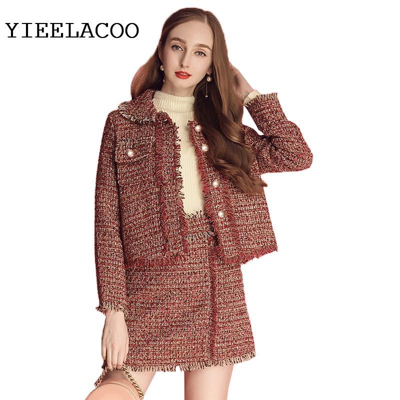 898e645ee8bf Красный твидовый пиджак юбка костюм весна / осень женский пиджак 2 шт шорты  костюм ...