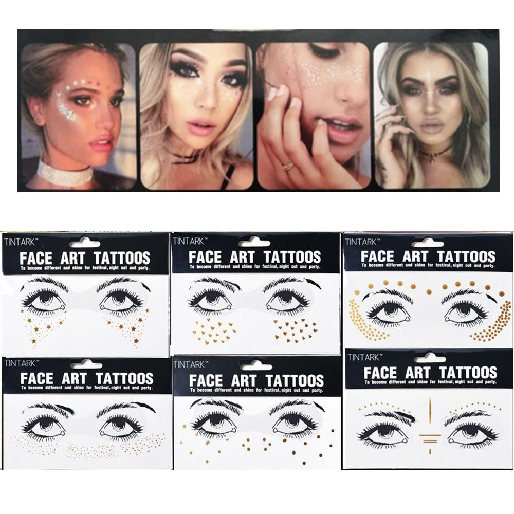 83456d91e Personality Fashion Disposable Gold Face Tattoo Stickers Waterproof  Bronzing Beauty Freckles Makeup Flash Body Art C18122801 Temporary Custom  Tattoo ...