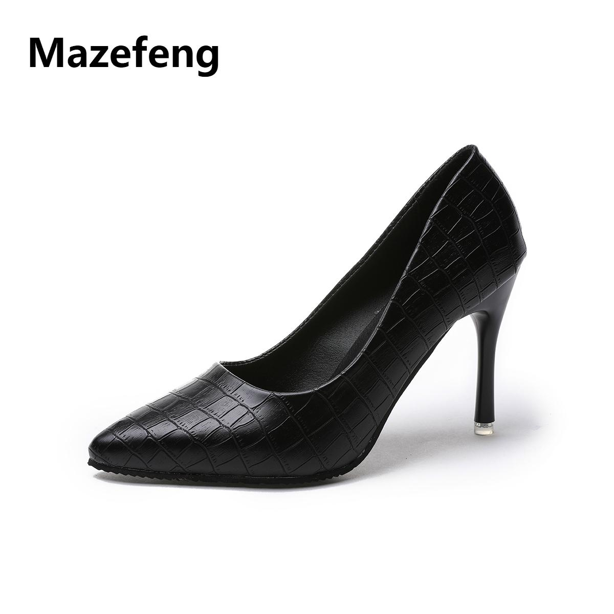 3413ba9520e Shoes Mazefeng New Fashion Summer Women High Heeled Women Casual Pumps  Office Ladies Thin Heel Pumps Classic Style Shallow Comfortable Shoes Slip  On Shoes ...