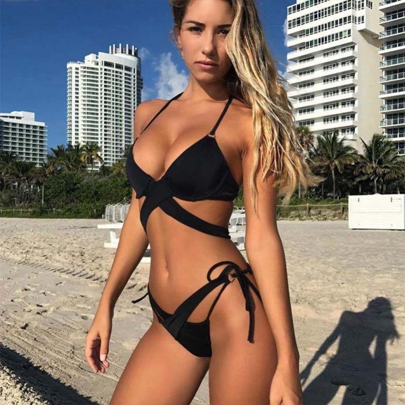 2019 Sexy Women Bikini Set Bra Brief Sets Push-up Padded Bra Swimsuit Bathing Mid Waist Swimwear Women