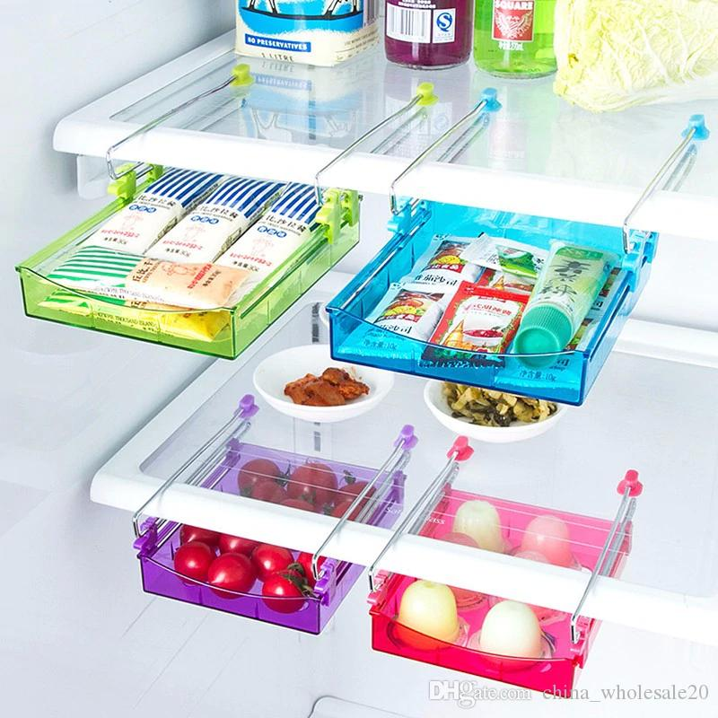 Kitchen Gadgets 4-color Portable Slide Kitchen Fridge Freezer Space Saver Organizer Storage Rack Shelf Holde Drawer
