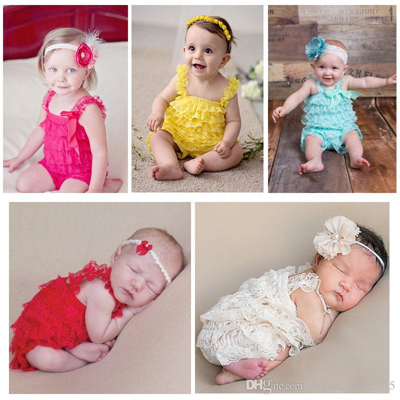 e36966735dc2b Solid Color Petti Newborn Baby Lace Romper Infant Toddler Ruffle Lace  Romper Ruffled Lace Rompers bow jumpsuit infant bodysuit