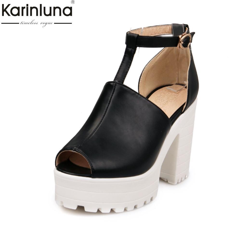2cc000b1e104 Karinluna Hot Sale Dropship Peep Toe Chunky Heels Summer Boots Woman Shoes  Buckle Strap Platform Shoes Woman Ankle Boots Cute Shoes Boots From Dusala