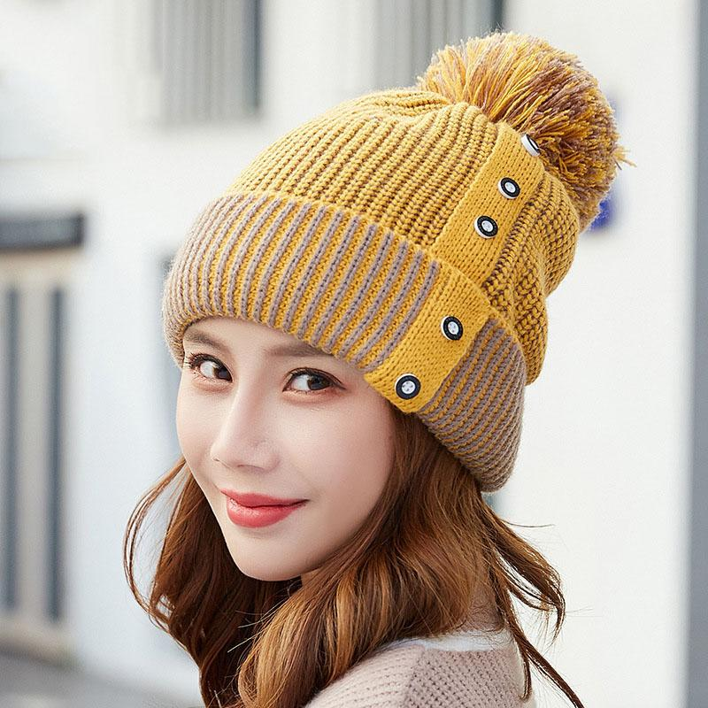 2018 Fashion Winter Hat For Women Girls Knitted Caps Woolen Hats Casual  Female Skullies Beanie Warm Woolen Fur Ball Cap Baseball Hat Beach Hats  From ... 3e924453e495