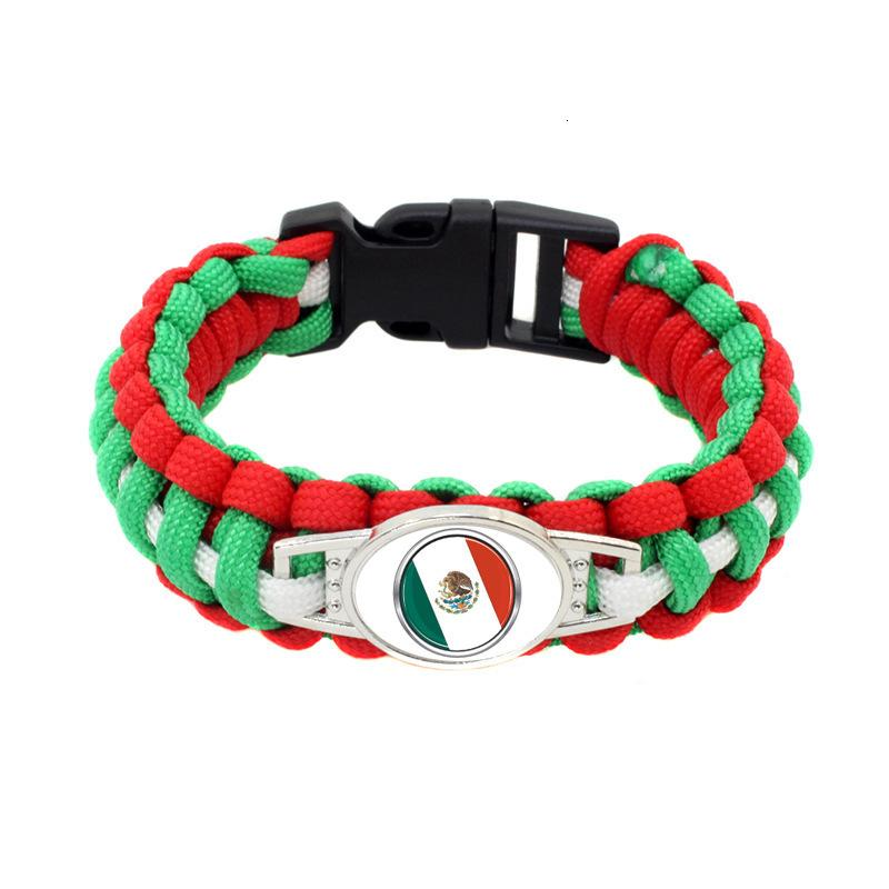20pc/lot Mexico Flag Paracord Survival Outdoor Camping Bracelets For Women & Men Girls Friendship Rope 550 7 Bracelet Jewelry