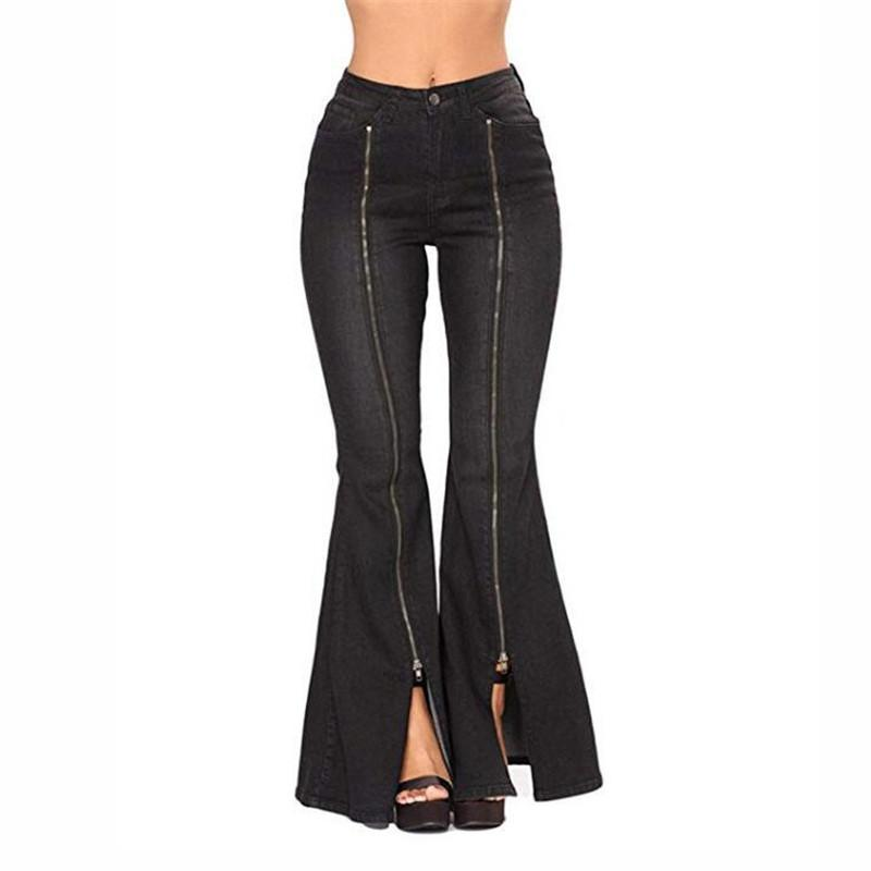 9bf6bbf51abaf 2019 MORUANCLE Fashion Women S Flare Jeans Pants High Split Wide Leg ...