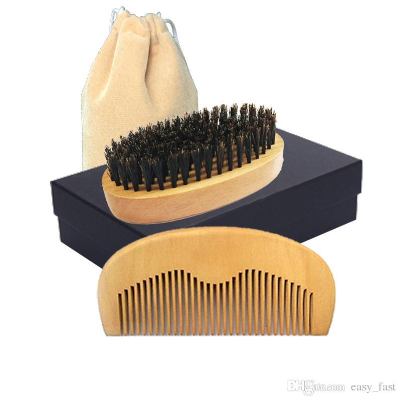 Men Beard Grooming Brush Comb Kit Wooden Boar Bristle Brush and Comb Set