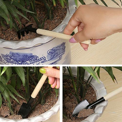 Mini Plant Garden Tools Wooden Handle Gardening Shovel Rake Spade Outdoor Bonsai Tools Handmade Planting Flower Garden Hand Tool